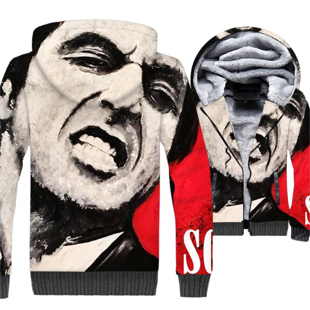 Movie Scarface 3D Jackets Men 2019 Winter Hoodies Thick Warm Fleece Mens Sweatshirt Casual Short Zip Coat Hip Hop Streetwear