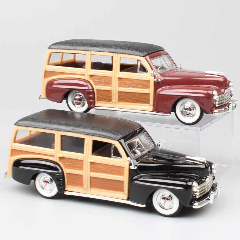 Children's 1/43 Scale Road Signature 1948 Ford Woody Woodie Die Cast Vehicles Replica Vintage Auto Station Wagon Cars Model Toys
