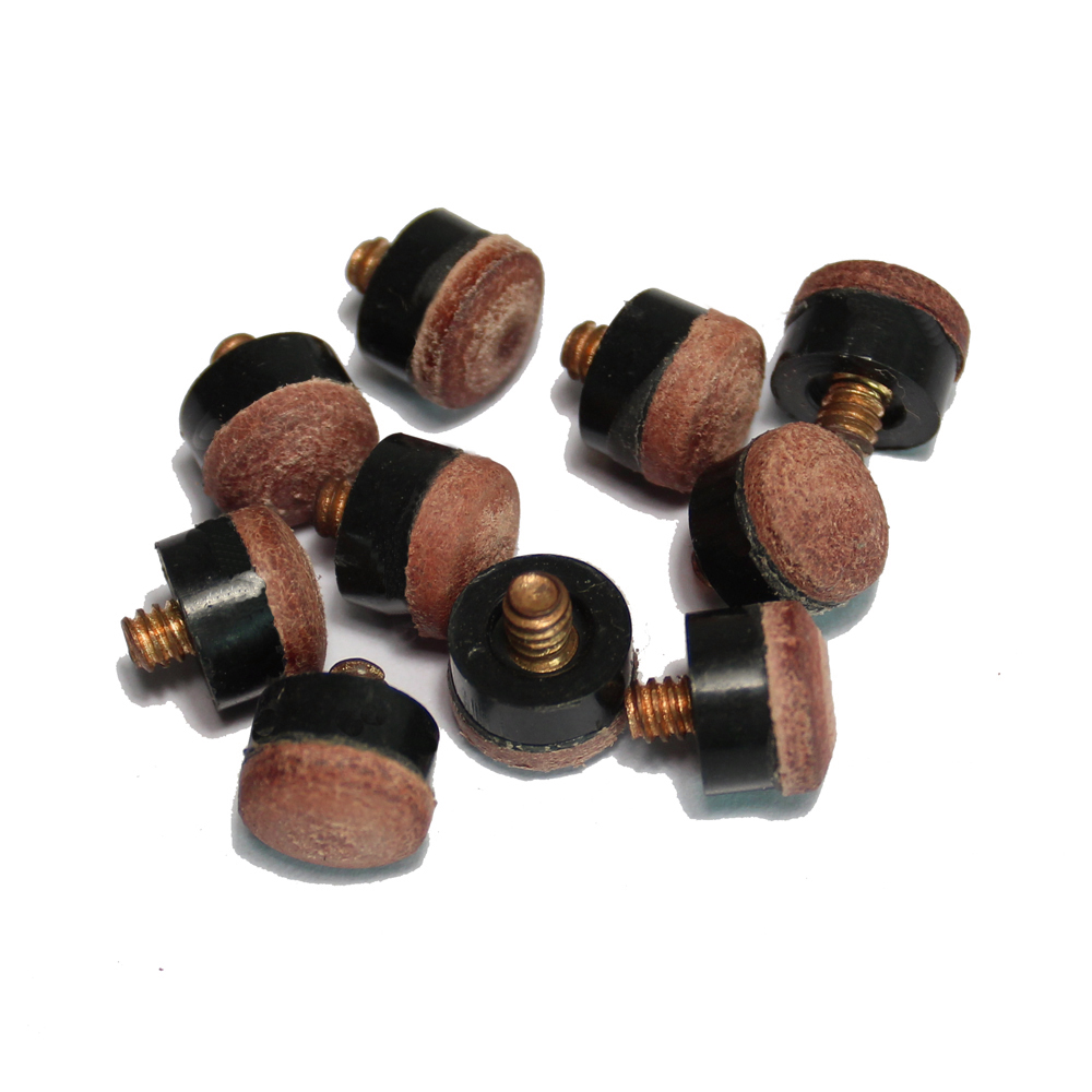 10PCS Packed Brown Color Screw On Tips For Billiard Pool Cue Stick And Snooker Cue,9mm,10mm,11mm,12mm,13mm