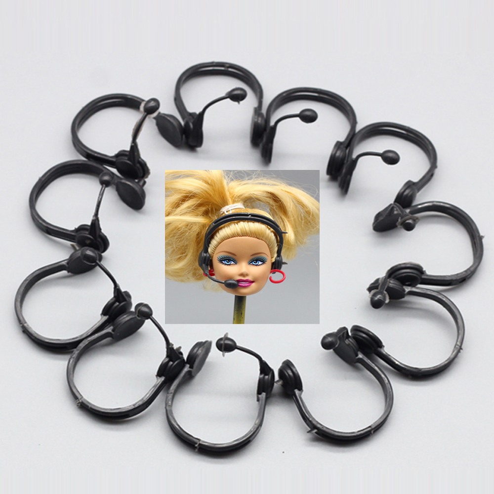 20 pcs/set Fashion Plastic Headset microphone accessory For barbie doll Accessories Earphone Best Gift
