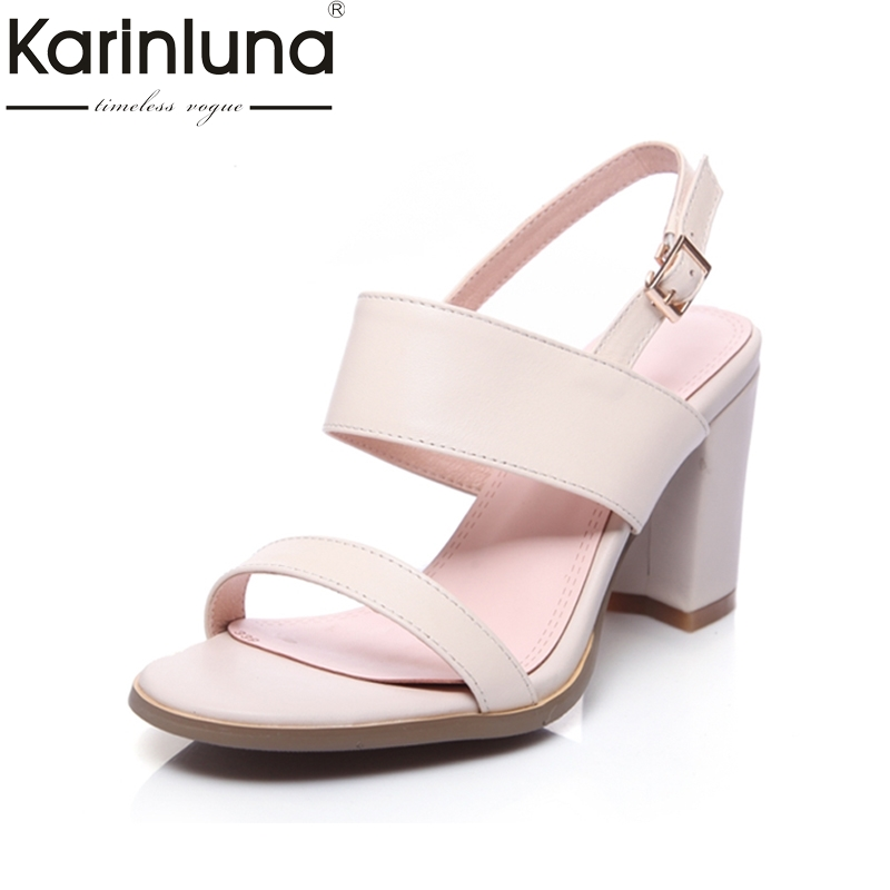 KARINLUNA Big Size 33-43 Genuine Leather Vogue Women Sandals High Heels Open Toe Platform Summer Shoes Woman Bonjomarisa цены онлайн