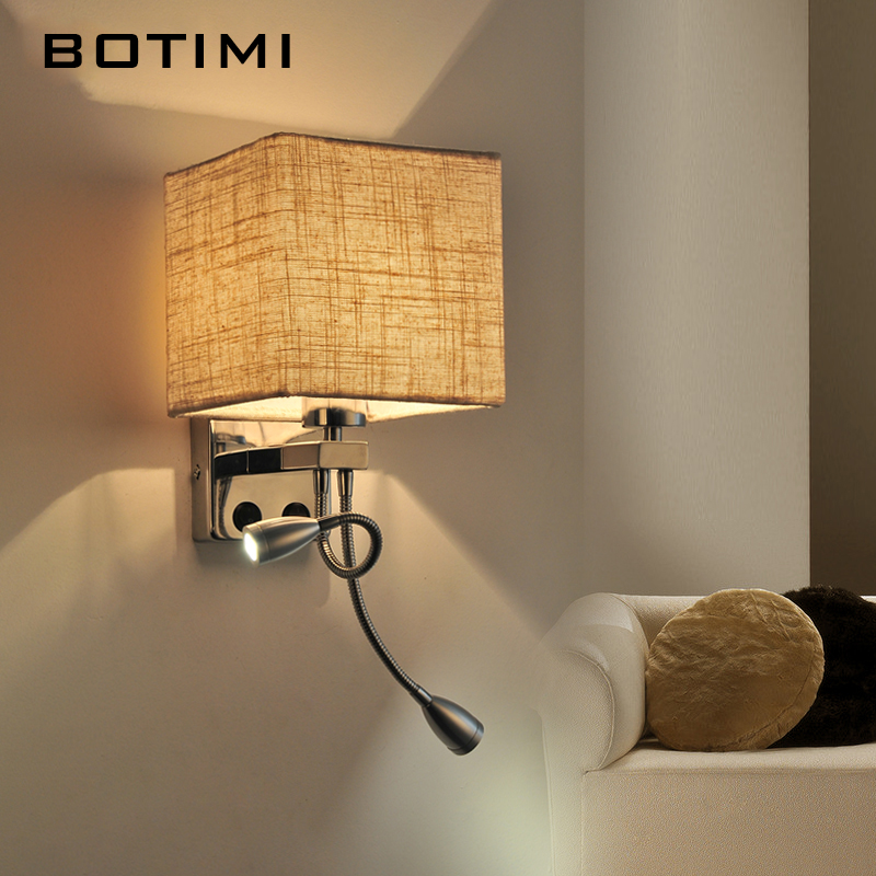 Botimi Modern Led Wall Sconce With Cloth Shade Warm White