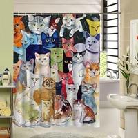 Cute Cat Shower Curtain Custom Cartoon Pattern 3d Print Bathroom Curtain For Kids Waterproof Polyester Fabric