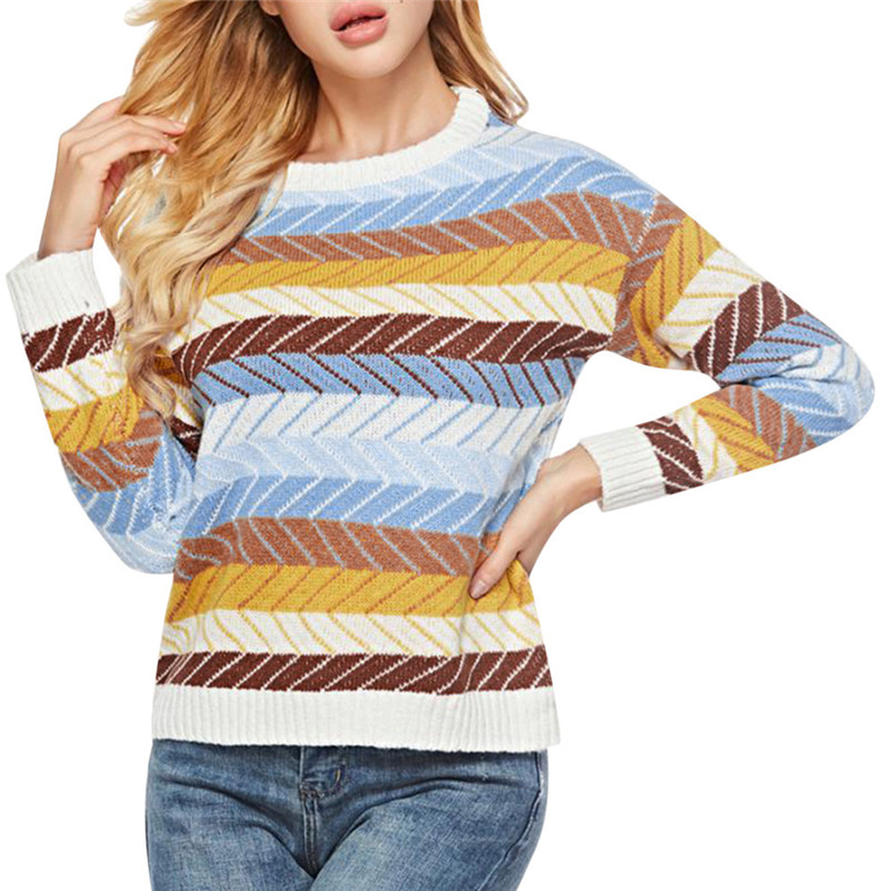 High quality sweater women winter 2020 Casual Knitted Winter Printing Round Neck Long Sleeve Button Loose Sweater O05#N