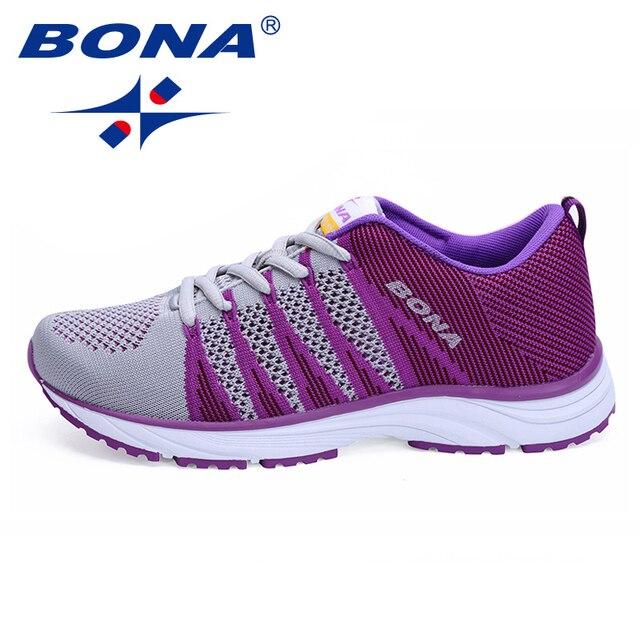 a58f3e7eb46a BONA Новый типичный стиль женские кроссовки для прогулок и бега кроссовки  на шнуровке сетчатая спортивная