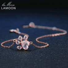 LAMOON Brand Paw Natural Heart Pink Gems Quartz Charm Bracelet Women 925 Sterling-silver-jewelry Love Anniversary Gifts LMHI005
