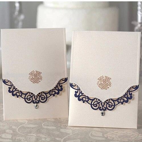 <font><b>Navy</b></font> <font><b>Blue</b></font> <font><b>Laser</b></font> Edge <font><b>Design</b></font> Wedding Invitation Cards, High Quality Invitation Cards,Personalize Customize, 50 pcs/<font><b>lot</b></font>
