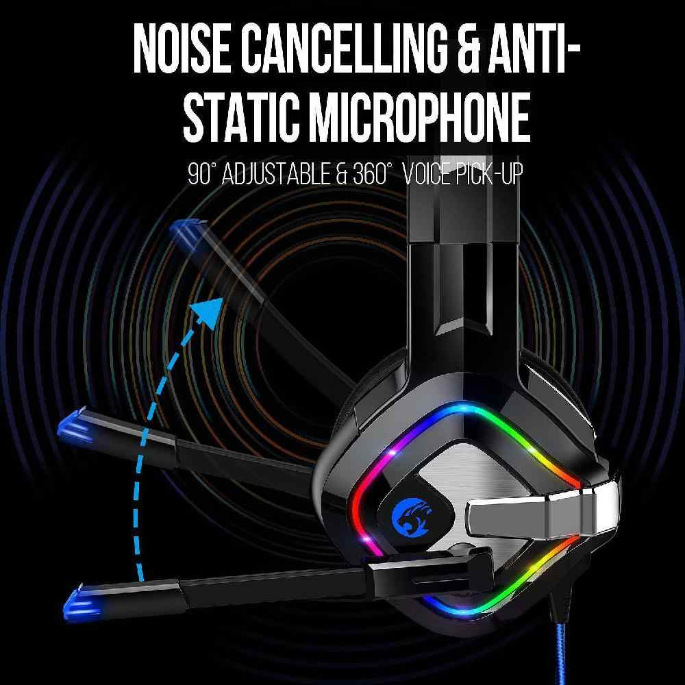 Dsstyles Stereo Over-Ear Headset Gaming untuk PC Game Konsol dengan RGB LED Kebisingan Membatalkan Headphone Headset Gamer