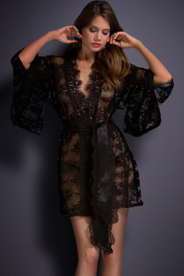 White/Black Sheer Transparent Lace Kimono Dressing Gown Intimate ...
