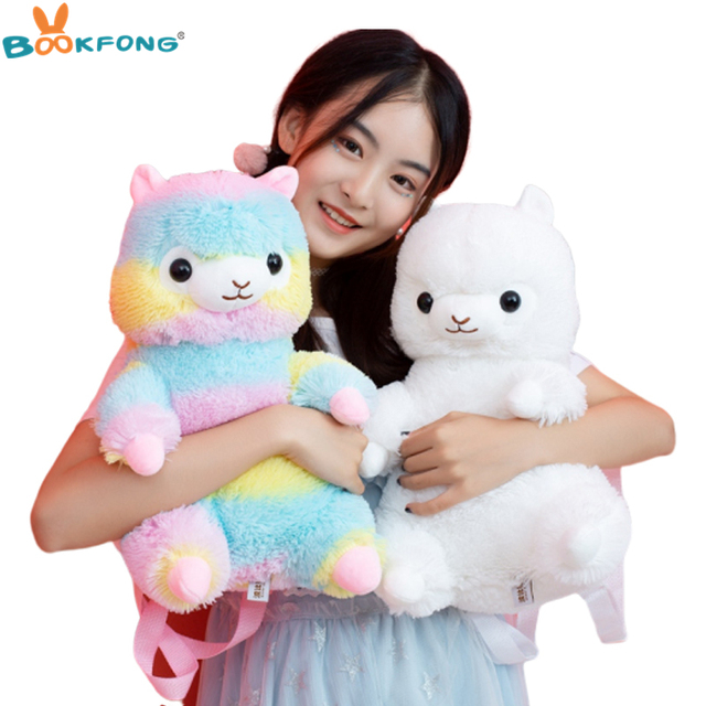 1 Pc 40 centímetros Anime Rainbow Lhama Alpaca De Pelúcia Kawaii Mochila Colorida Boneca Crianças Brinquedos Crianças Presente de Aniversário