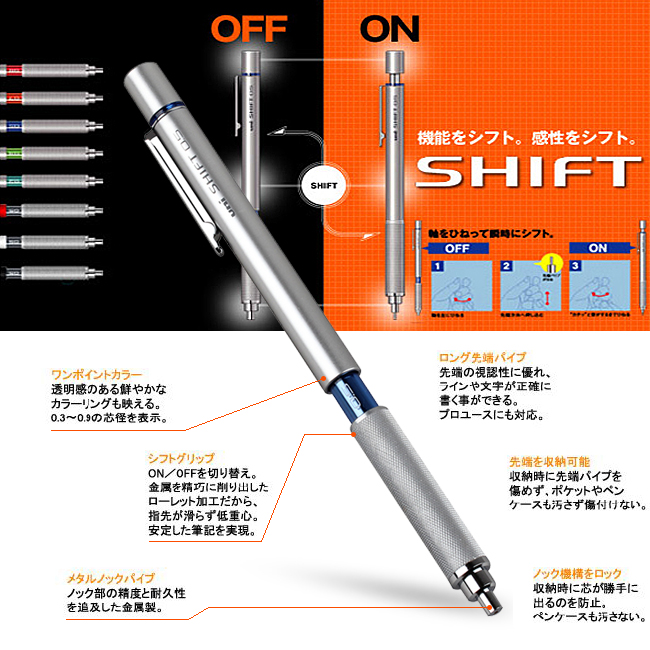 Japanese Uni Shift Metal Mechanical Pencils 0.4 mm Retractable Tip Low Gravity 0.5mm Drafting Pencil M5-1010 Stationery