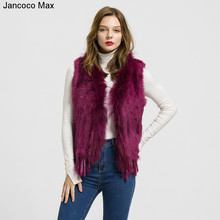 2019 New Arrival Women Real Rabbit Fur Vests Raccoon Collar Winter Warm Fashion Gilet Waistcoat Ladies Coat S1700