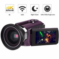 4K Camcorder 16X ZOOM Digital Video Recorder Camera Ultra HD Wifi IR Night Vision LCD Touchscreen External with Wide Angle Lens