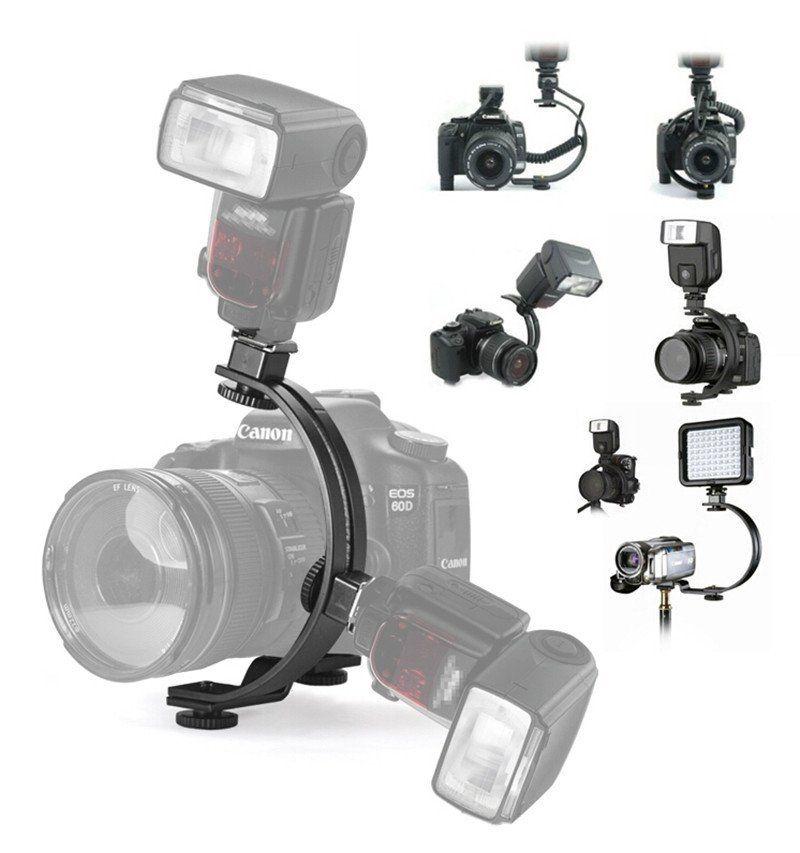 Adjustable C-Shape Two Flash Hot shoe Bracket Holder Mount Stand for LED Video Light DSLR Camera Speedlite