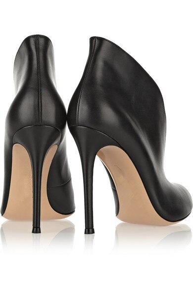 Nouvelle Pompes Ouvert Dame Profonde Femmes Toe Chaussures Noir En As Mode V Sur Automne Talons Marque Cuir Stilettos Élégant Peep Véritable Glissement Haute Show dqxRaH