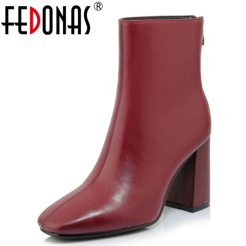 FEDONAS Ankle Boots For Women High Heels Female Zipper Autumn Winter Genuine Leather Shoes Woman Short Boots Ladies Martin Shoes цена