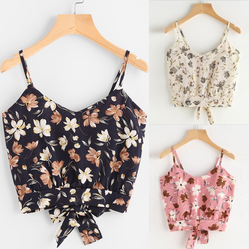 Lower Price with Klv Womens Self Tie Back V Neck Floral Print Crop Cami Backless Buckle Crop Top Clothes Camisole Sexy Tops High Quality Elegant And Sturdy Package Blouses & Shirts