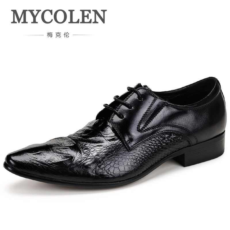 MYCOLEN New Fashion Casual Mens Dress Shoes Genuine Leather Crocodile Lace-Up British Style Flat Formal Oxfords Wedding Shoe new arrival mens fashion wedding party dress genuine leather derby shoes breathable lace up oxfords shoe crocodile pattern male