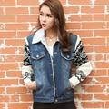 New 2016 Women Spring Autumn Short Denim Jacket Women Winter Casual Turn Down Collar Lamb Cotton Denim Jeans Outerwear