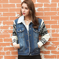 Novo 2016 Mulheres Primavera Outono Curto Denim Jacket Mulheres Inverno Casual Turn Down Collar Cordeiro Cotton Denim Jeans Casacos