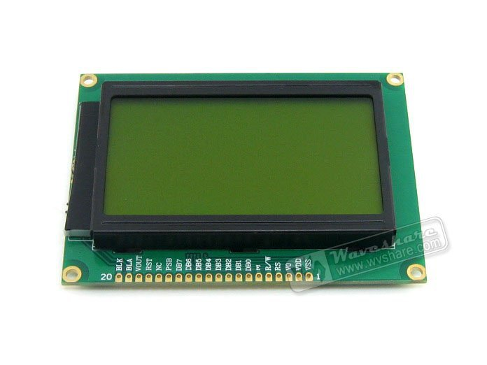 12864 128*64 Graphic Matrix LCD LCM Display Module TN/STN Yellow Backlight Black Character 3.3V Logic Circuit