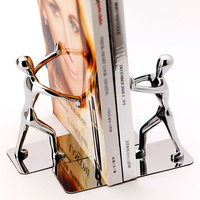 Fashion Cool Metal Stainless Steel Zinc Alloy Human Shaped Bookend Bookshelf for School Office Stationery Gifts Supplies