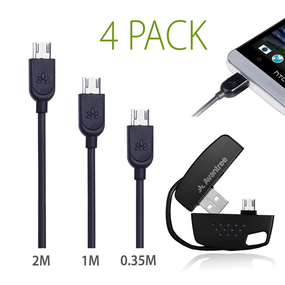 4 Pack Micro USB Cable Data Sync Charge USB2.0, Handy KEYCHAIN / 1FT / 3FT / 6FT Short Long Cord Andorid MI USB Cable