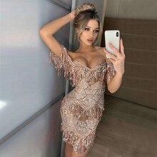 2019 Vestidos Seamyla 新着ビーズ女性のセクシーなストラップレスクラブイブニングパーティードレス