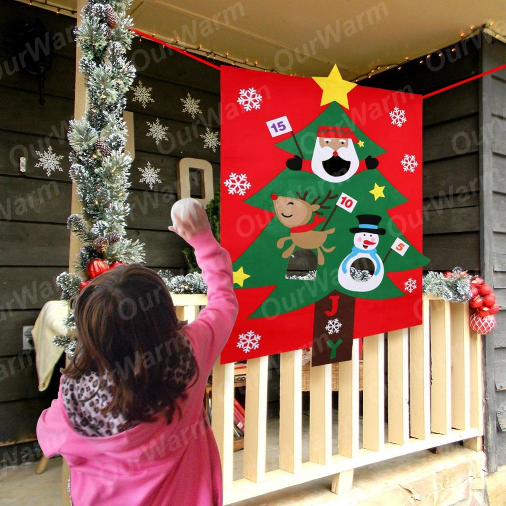 OurWarm Christmas Party Games for Kids New Year 39 s Toys Snowball Christmas Tree Hanging Toss Game Fun Indoor Outdoor Home Games in Party DIY Decorations from Home amp Garden