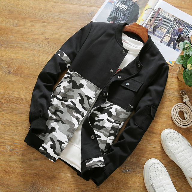 Fall 2016 patch mosaics camouflage jacket male big yards thin young students coat jacket K26