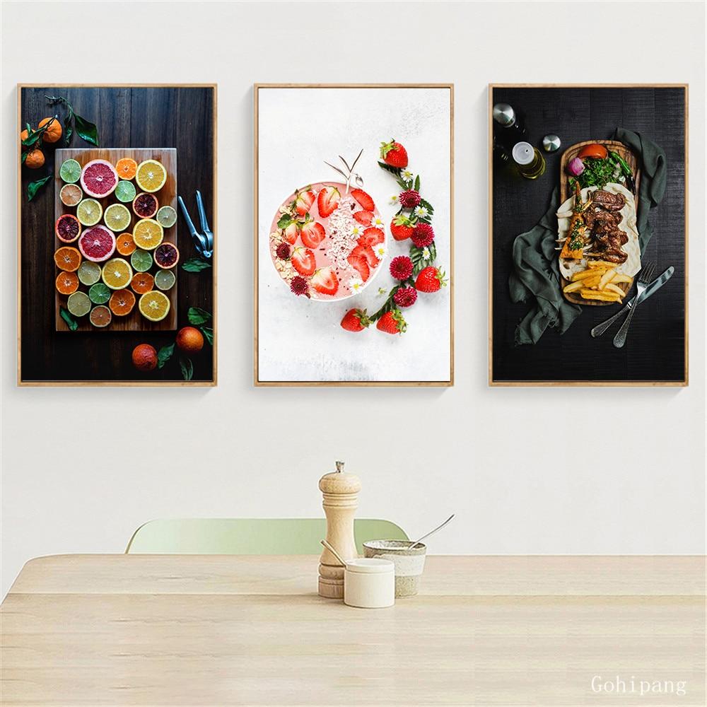Постер для еды, Скандинавское Современное украшение, Картина на холсте для кухни, декор с фруктовым принтом, настенная живопись для овощей, домашний декор
