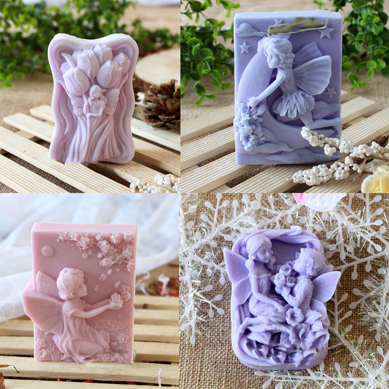 Angel Girl shaped handmade soap molds ,fairy rubber molds 4 kinds with high quality wholesale price