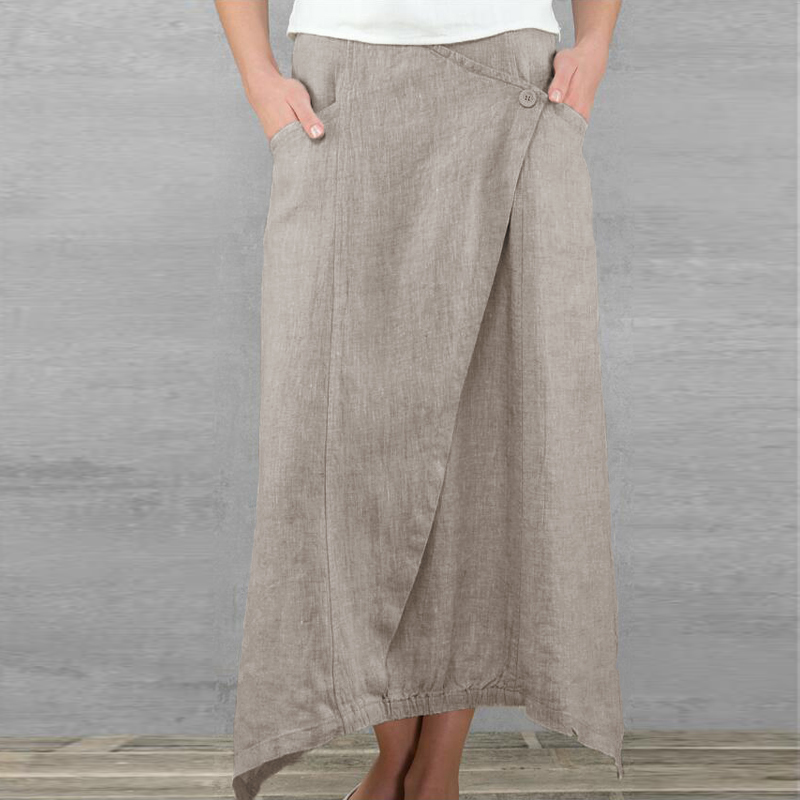 Celmia Vintage Women Maxi Skirts 19 Summer Casual Loose High Waist Asymmetrical Linen Skirt Plus Size Long Pleated Beach Skirt 6