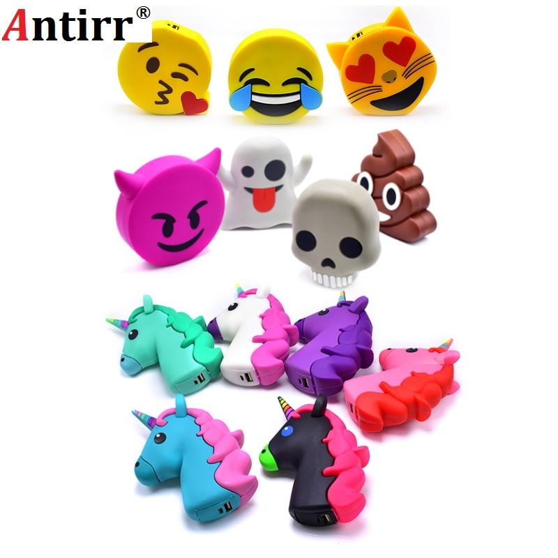 Emoji power bank 2600MAH Unicorn Cartoon USB Output powerbank portable External battery pack charger Battery for