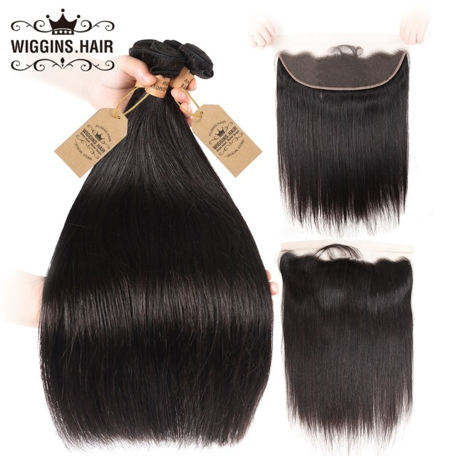 Wiggins Hair Malaysian Straight Hair 4 Bundles With Frontal 100