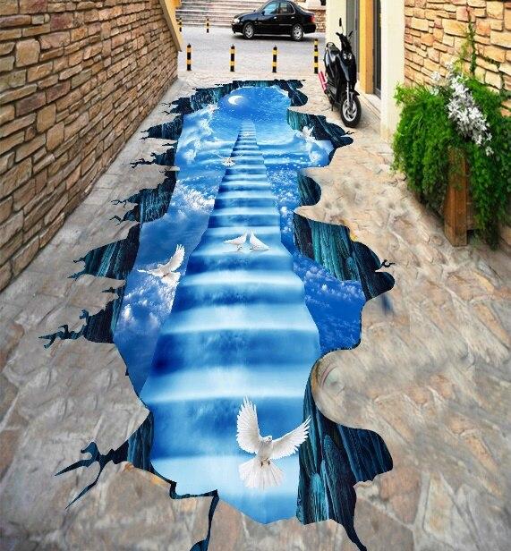 [Self-Adhesive] 3D Pigeon Sky Stairs 33 Non-slip Waterproof Photo Self-Adhesive Floor Mural Sticker WallPaper Murals Print Decal