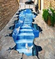 [Self Adhesive] 3D Pigeon Sky Stairs 33 Non slip Waterproof Photo Self Adhesive Floor Mural Sticker WallPaper Murals Print Decal