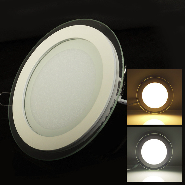 LED Panel Light 6W/12W/18W Glasses Led Round Panel Recessed Ceiling Downlight AC85-265V White/Warm White