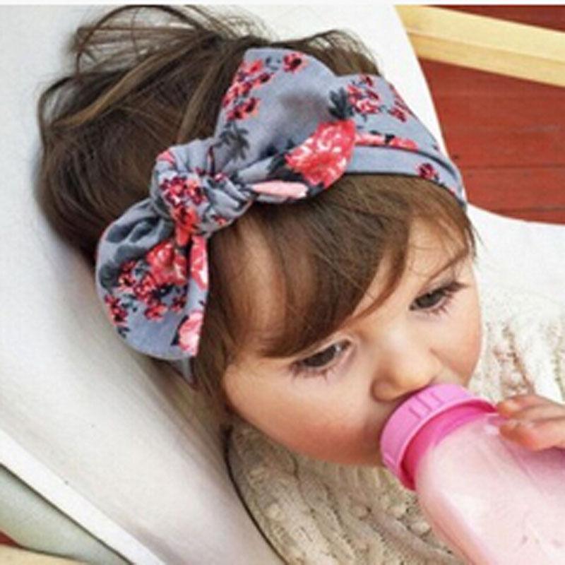 цена на 2017 Kid Baby Girl Cotton Elastic Hairband Children Stretch Turban Flower Rabbit Headband Headwear Baby Hair Band Accessories