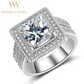Wedding Engagement Ring Stainless Steel Ring Big Square CZ Diamond rings for women Fashion Rings for Women 2016 Jewelry 2RS312