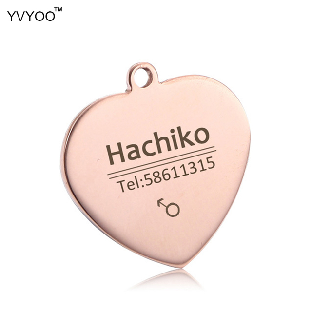 YVYOO Free engraving Stainless steel dog cat tag Pet collar accessories ID tag name telephone Personalized heart-shaped  B03