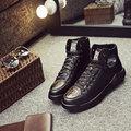 Calidad superior de Los Hombres Zapatos del Top del Alto de Invierno de Cuero Genuino Moda Casual Zapatos Hombre Hombres Zapatos de Marca Zapatos Casuales de Estilo Italiano