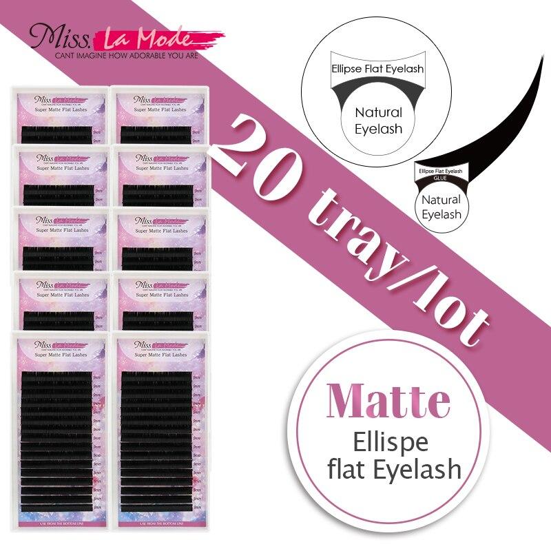 Misslamode Matte flat eyelashes ellipse eyelashes extension individual eyelashes flat lashes extensions 16line 50pcs lot