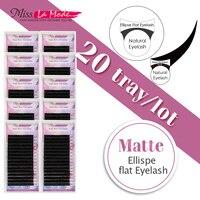 Misslamode Matte flat eyelashes ellipse eyelashes extension individual eyelashes flat lashes extensions 16line 50pcs/lot