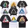 London fashion palácio t-shirt das mulheres dos homens 1:1 estilo algodão marca hip hop clothing verão o-pescoço triângulo palácio t-shirt skate