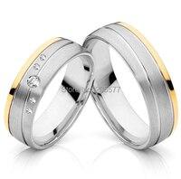 Европейский стиль ручной работы золотое покрытие CZ titanium Свадебные обручальные кольца пар комплекты 2014