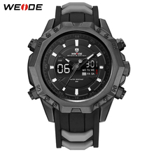 WEIDE Mens Sport Analog Quartz Movement Digital Display Day Back Light Alarm Black Rubber Band Water Resistant Date Wristwatches weide watch repeater analog lcd digital display outdoor men sport quartz movement date stopwatch back light stainless steel band
