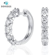 DovEggs Platinum Plated Silver Moissanite Hoop Earrings for Women 3.5mm GH Color Moissanite Sterling Ladies Hoop Earrings