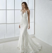 Lace Mermaid White Ivory Wedding Dress Appliques Halter Neck Open Back Court Train Bridal Dress Formal Wedding Gowns New Arrival purple lace details open back halter pajama dress with t back