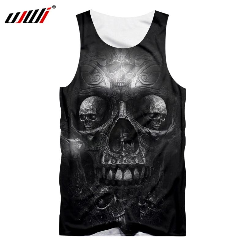 UJWI Men Casual Tank Top Cool Print Metal Skull 3d Singlets Man Hip Hop Sportwear Undershirt Sleeveless Shirt O Neck Vest 5XL